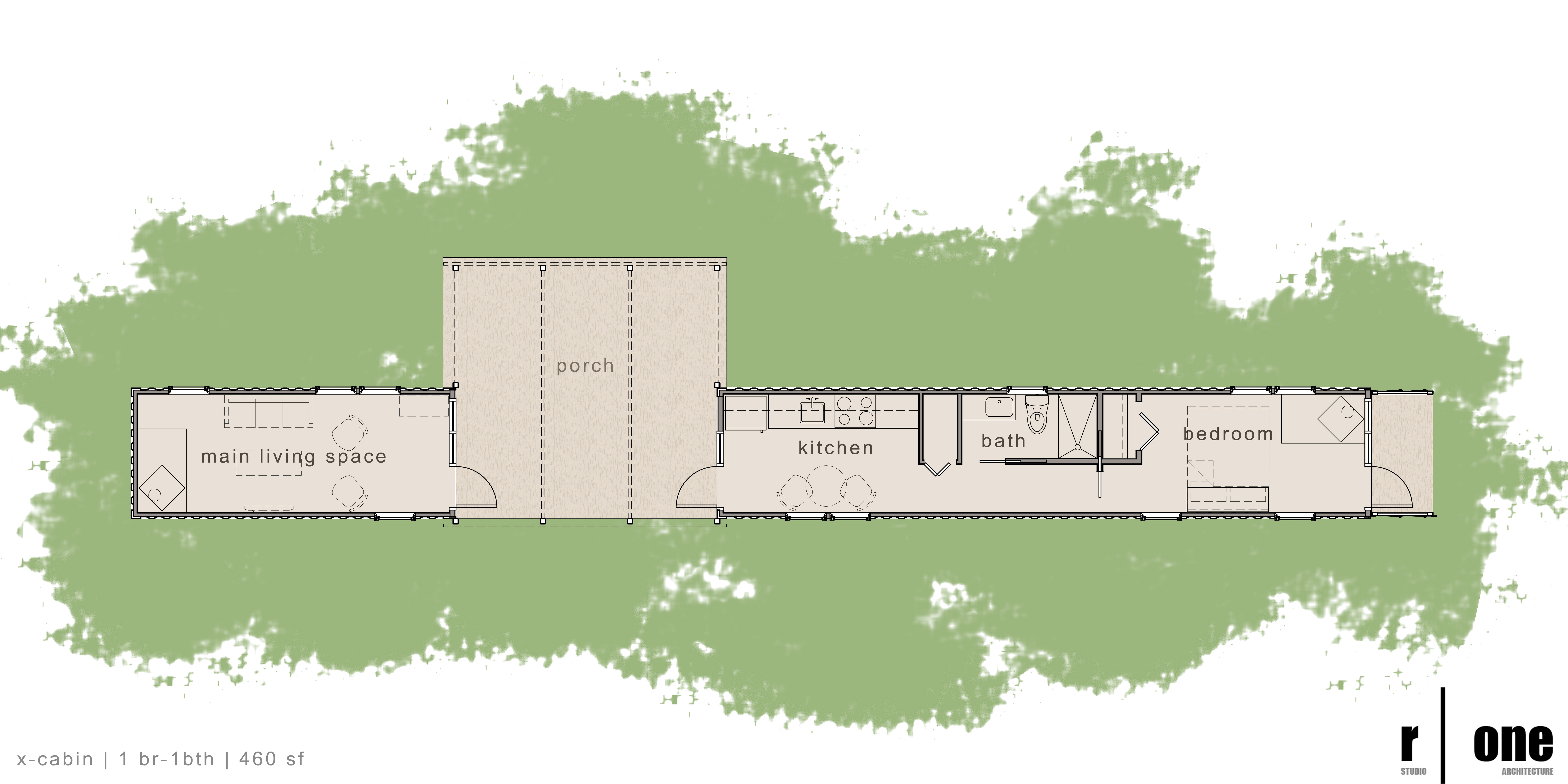 Container Cabins Floor Plans 7200 x 3600